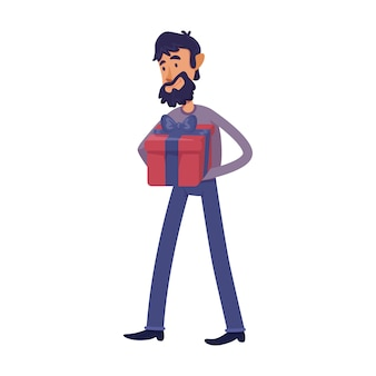 Man holding gift box flat cartoon illustration. male bearded adult with holiday present. ready to use 2d character template for commercial, animation, printing design. isolated comic hero