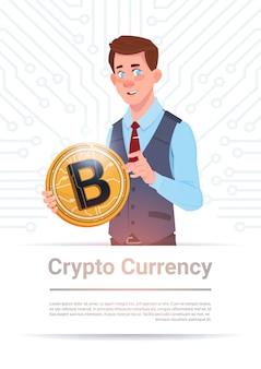 Man holding golden bitcoin over motherboard circuit background