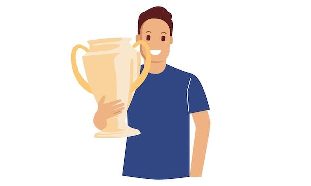 Мужчина держит золотой трофей