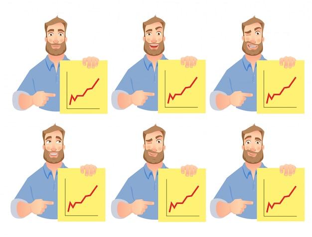 Man holding graphs set