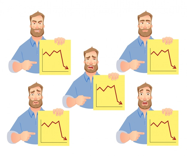 Man holding graphs set
