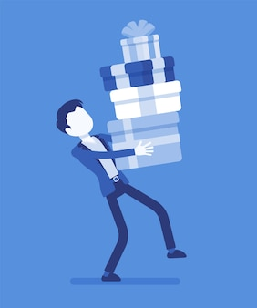 Man holding a heap of gift boxes. boyfriend caring an impressive stack of holiday presents packed with nice ribbons to give for special occasion or event.  illustration with faceless characters