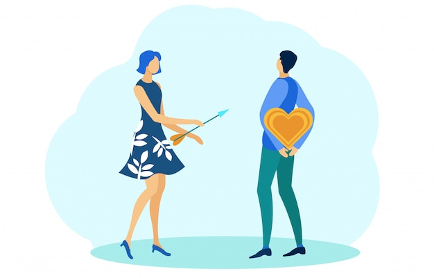 Man holding heart behind back, girl with arrow.