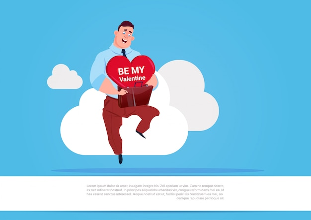 Man holding heart sit on white cloud over blue background be my valentine love day holiday concept