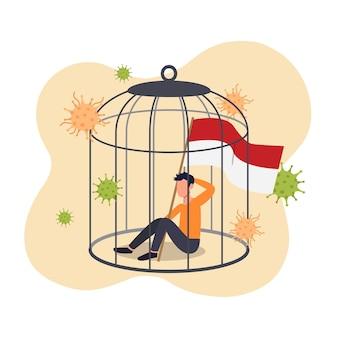 Человек, держащий индонезийский флаг, заперт в концепции клетки для птиц. индонезия закрывается в ожидании нового штамма мутации вируса короны. плоский дизайн.