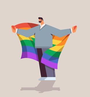 Lgbt 무지개 깃발을 들고 남자 게이 레즈비언 사랑 퍼레이드 프라이드 축제 트랜스 젠더 사랑 개념 전체 길이 벡터 일러스트 레이 션