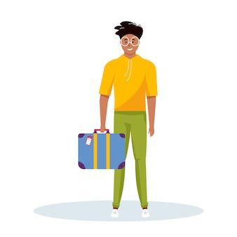 冒険旅行、旅行のための荷物を持っている男。旅行者のためのスーツケース、手荷物を備えた旅の装飾的なデザイン。フラット漫画トレンディなベクトル。