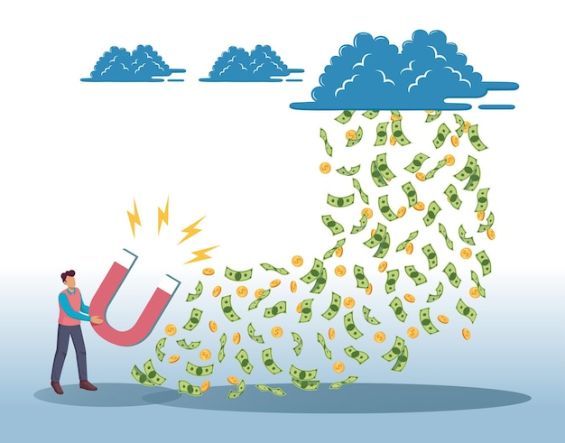 Man holding magnet attracting money concept vector illustration