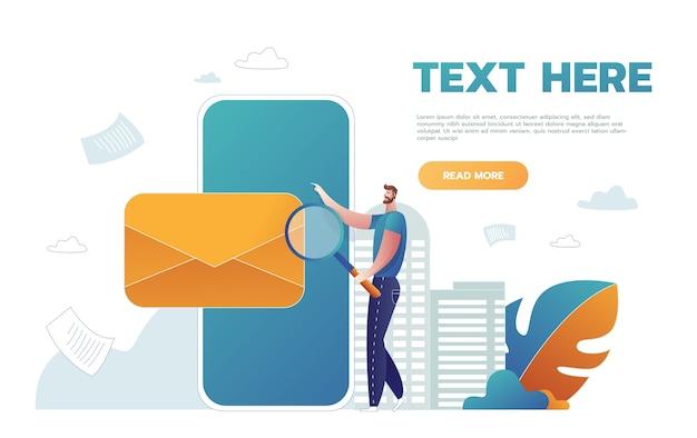 Человек, держащий увеличительное стекло на веб-шаблоне конверта