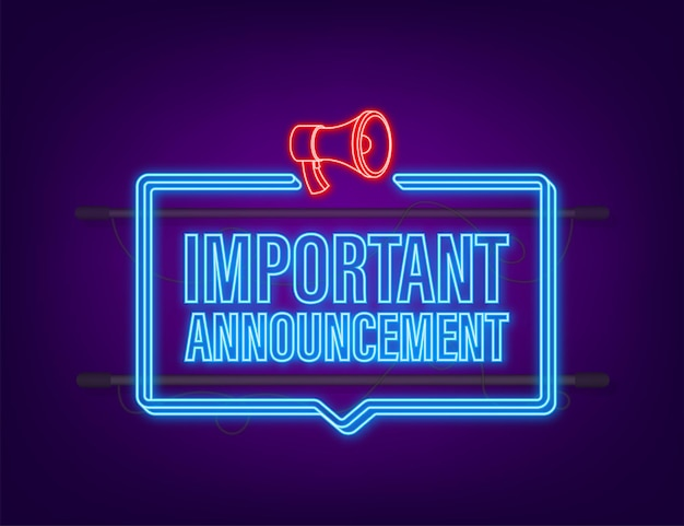 Man holding megaphone with important announcement. megaphone banner. neon style. web design. vector stock illustration.