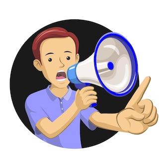 A man holding a megaphone