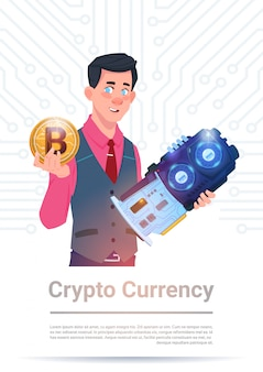 Man holding microchip and bitcoin over motherboard background crypto currency concept
