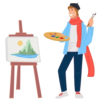 Man holding palette with paints and brush, using easel as stand