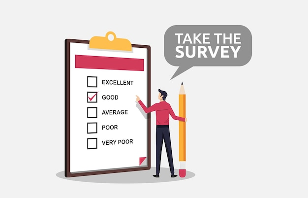 A man holding pencil filling survey form concept on clipboard symbol