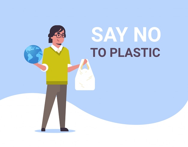 Man holding planet and polythene bag say no plastic pollution recycling ecology problem save the earth concept male eco activist full length flat horizontal