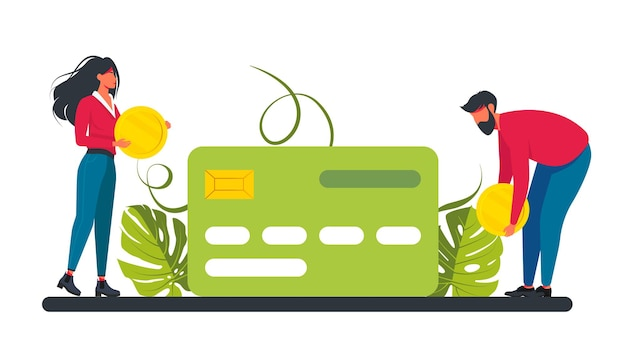 Man holding plastic debit or credit card. concept of service for secure electronic, money transfer. small woman and man puts a coin on a credit card. businessmans and investment. vector illustration