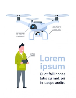 Man holding remote controller for modern drone over template infographic
