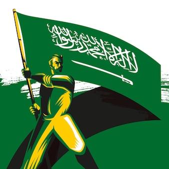 Man holding the saudi arabia flag with pride vector illustration saudi national day background
