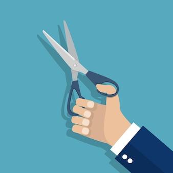 はさみを手に持っている男。フラットなデザインのベクトルイラスト。背景に分離されています。男の美容師、仕立て屋。