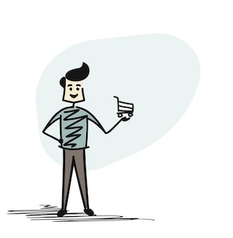 Man holding shopping bag, cartoon sketch concept isolated vector illustration.