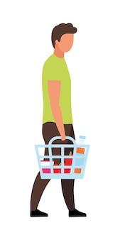 買い物かごセミフラットカラーベクトル文字を保持している男