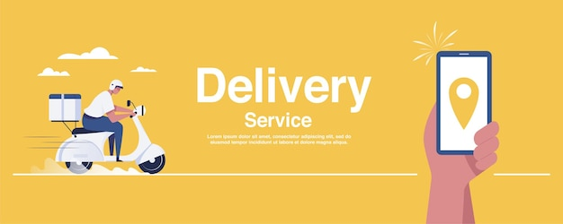 Man holding smartphone with logistics transport delivery man location icon on yellow background. vector illustration