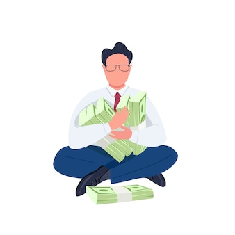 Man holding stacks of money flat color faceless character