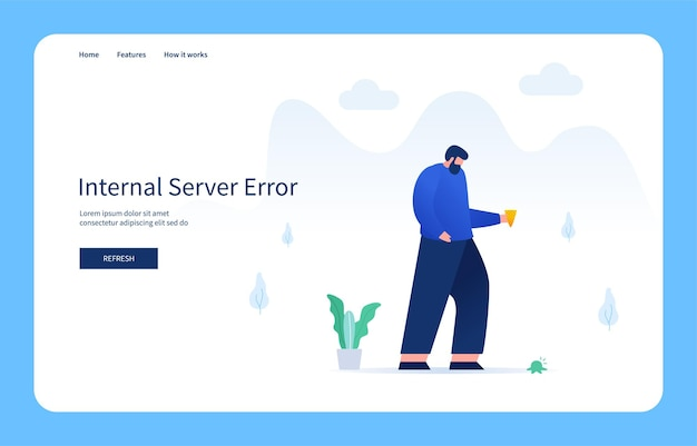 Man holding waffle cone looking at falling ice cream internal server error empty state