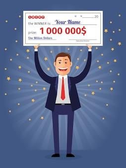 Мужчина держит выигрышный чек на миллион долларов. лотерея и богатая, счастливая улыбка, чек и деньги.