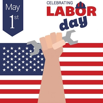 Man holding wrench labor day card