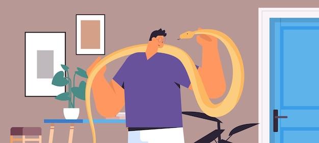 Man holding yellow python snake guy having dangerous reptile pet living room interior horizontal portrait vector illustration