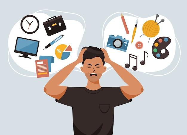 男は頭を抱え、将来の職業についてストレスを感じる