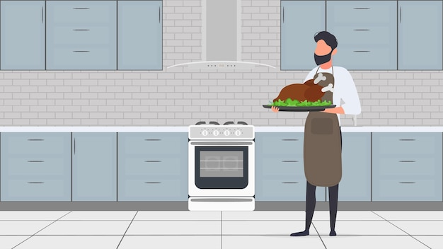 A man holds a roast turkey in his hand. the guy in the kitchen apron is holding fried chicken. good for banners and articles on the culinary theme. vector.