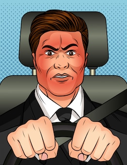 A man holds the steering wheel in his hands and rides in a car.