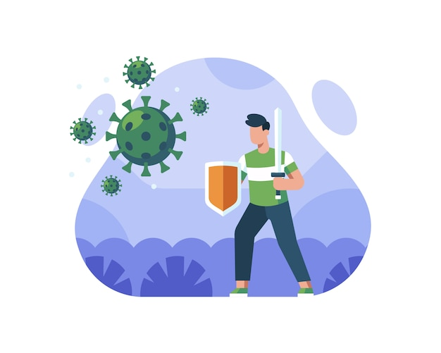 A man holds a sword and shields against a coronavirus illustration concept