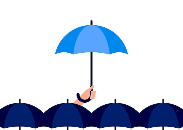 Man holds an umbrella in his hand personal individual rain umbrella protection