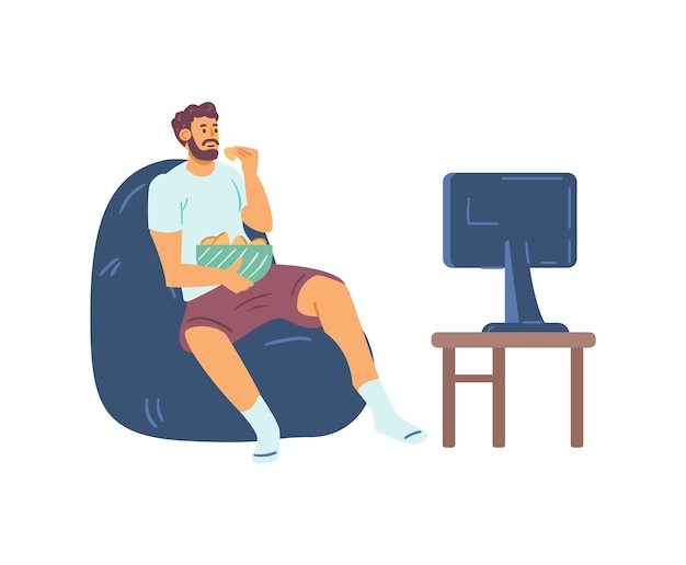 Man in homewear watching tv and snacking at home vector illustration isolated