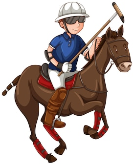 Man on horse playing polo