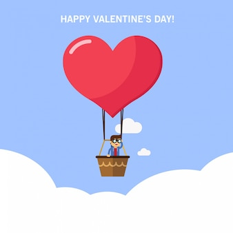 A man in a hot air balloon searching for love. valentine's day card
