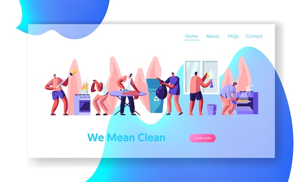 Man at household activities website landing page template