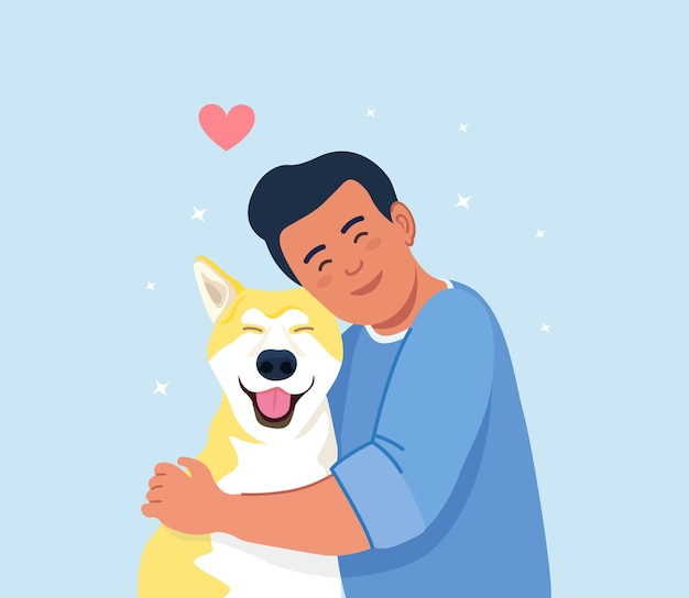 Man hug dog. young guy hugging puppy with love. friendship of boy and pet. caring for a four-footed friend