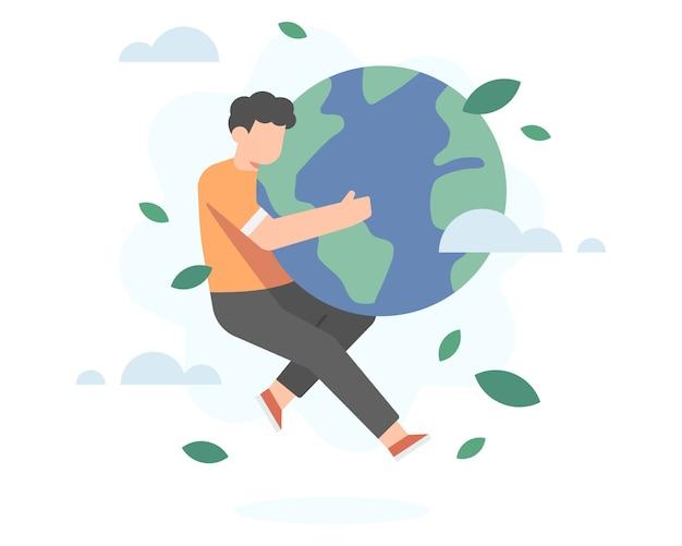 A man hug an earth