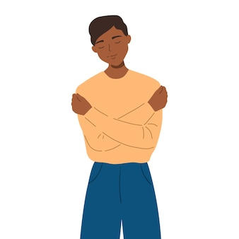 手で抱きしめて笑っている男。若い男は彼の顔に自然な楽しい表情で自分自身を抱きしめます。自己愛と自己受容の概念。フラット漫画イラスト
