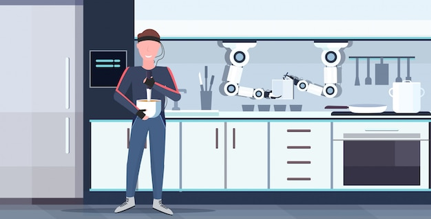 Человек гуманоид с проводами электроды индикаторы управление умный удобный шеф-повар робот приготовление пищи робот помощник инновация концепция искусственный интеллект интерьер горизонтальный кухня