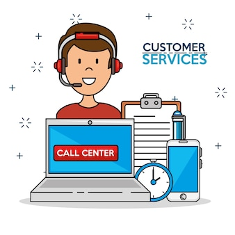 Man icon with laptop smartphone time support center service
