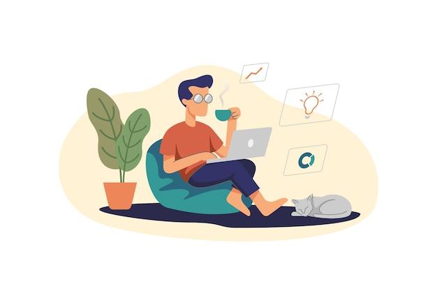 마시는 커피 동안 집에서 노트북으로 작업하는 남자 그림