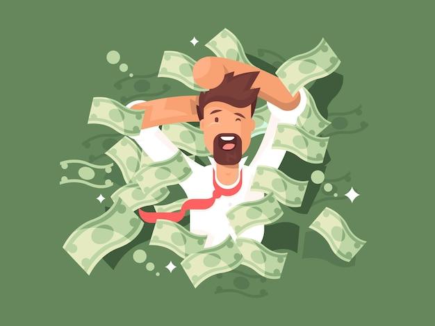 お金の山の中の男。成功した実業家の豊富な、ベクトル図