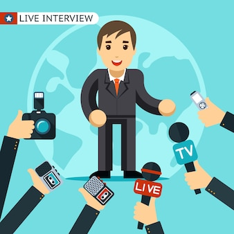インタビューを受けているスーツを着た男。ディクタフォンで撮影および記録されている。