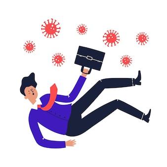 Мужчина в костюме падает. потеря работы из-за концепции коронавируса. hand обращается векторные иллюстрации