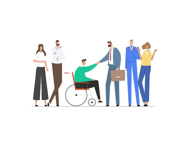 휠체어에 남자는 비즈니스 파트너 또는 소송에서 상사와 악수.